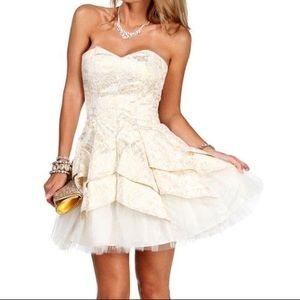 Pleated Prom Dress Cream with Golden Detail